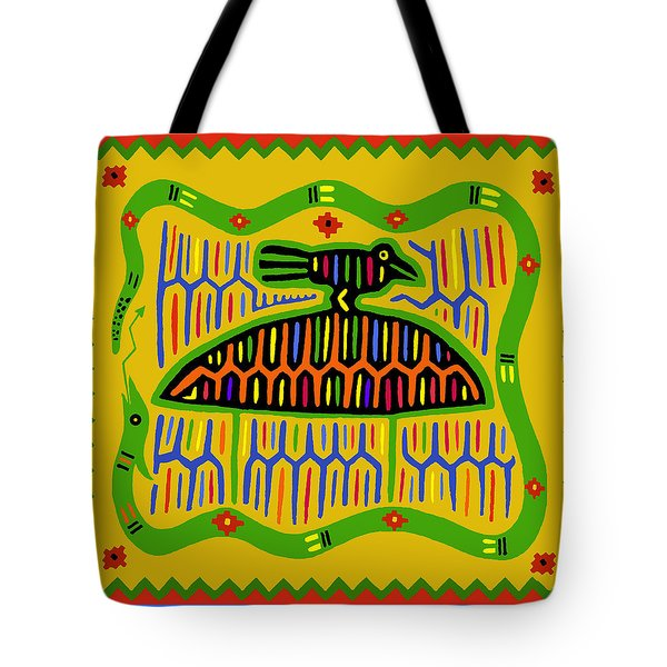 Kuna Bird With Snake Tote Bag