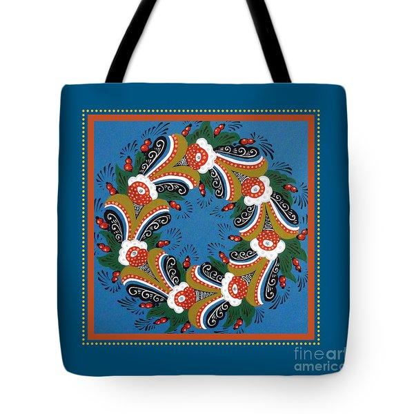 Kurbits Wreath Blue Tote Bag by Leif Sodergren