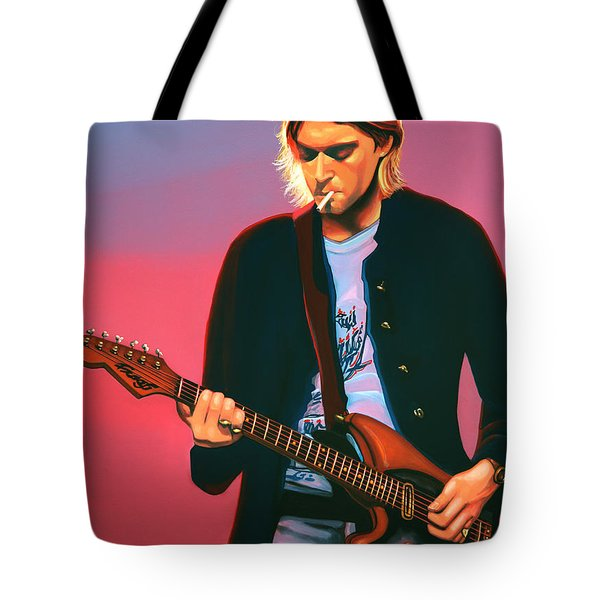 Kurt Cobain In Nirvana Painting Tote Bag