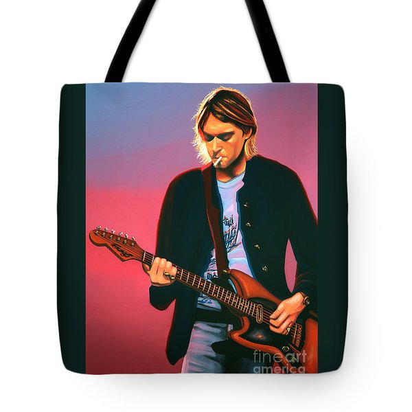 Kurt Cobain In Nirvana Painting Tote Bag by Paul Meijering
