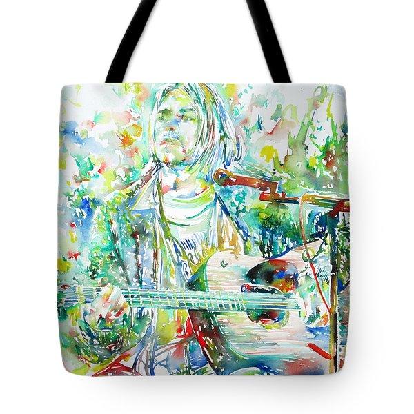 Kurt Cobain Playing The Guitar - Watercolor Portrait Tote Bag