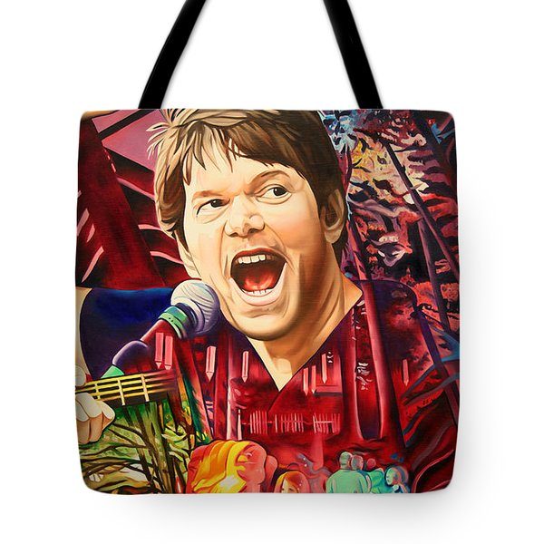 Tote Bag featuring the painting Kyle Hollingsworth At Hornin'gs Hideout by Joshua Morton