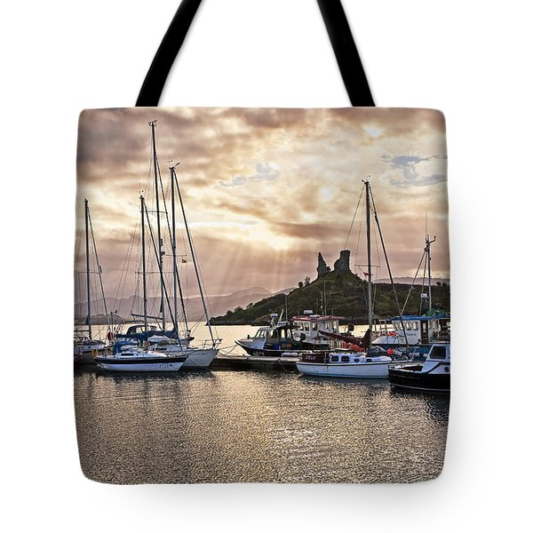 Kyleakin Harbor And Castle Moil Tote Bag by Marcia Colelli