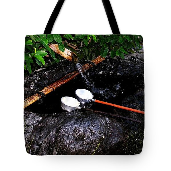 Tote Bag featuring the photograph Kyoto Water Vessels by Jacqueline M Lewis
