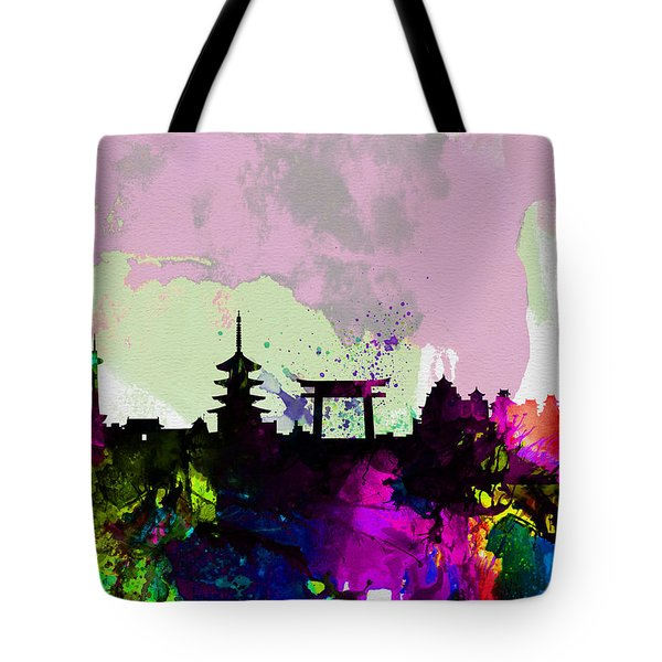 Kyoto Watercolor Skyline Tote Bag