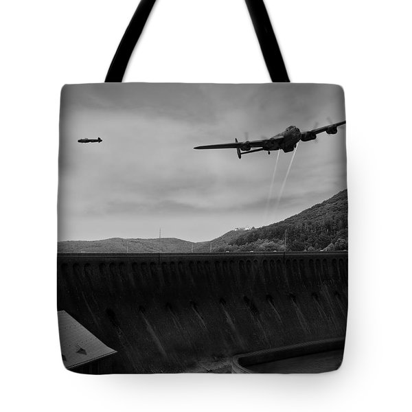 L For Leather Over The Eder Dam Black And White Version Tote Bag