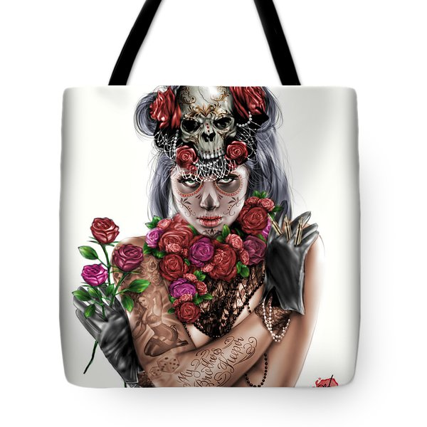 Tote Bag featuring the painting La Calavera Catrina by Pete Tapang
