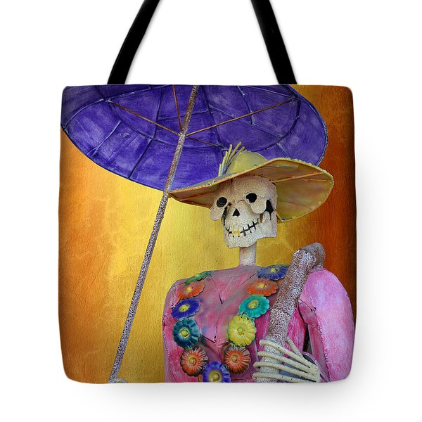 Tote Bag featuring the photograph La Catrina With Purple Umbrella by Christine Till