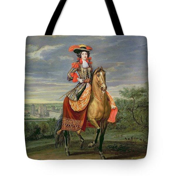 La Comtesse De Soissons Riding With A View Of The Chateau De Vincennes Oil On Canvas Tote Bag