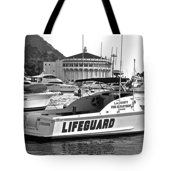 L A County Lifeguard Boat B W Tote Bag