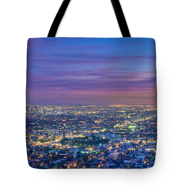 La Fiery Sunset Cityscape Skyline Tote Bag