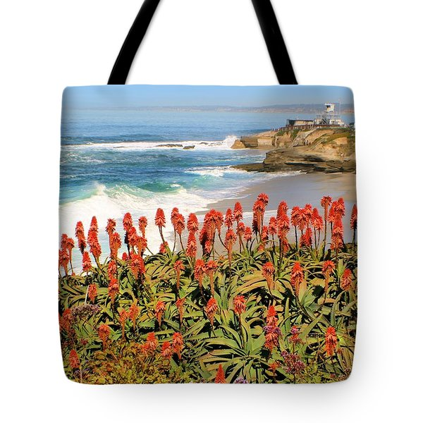 La Jolla Coast With Flowers Blooming Tote Bag