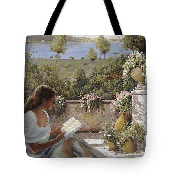 Tote Bag featuring the painting La Lettura All'ombra by Guido Borelli