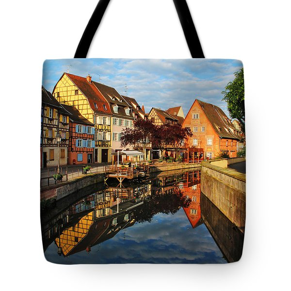 La Petite Venice Reflections In Colmar France Tote Bag by Greg Matchick