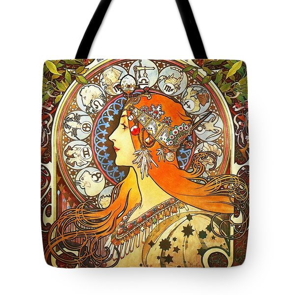 La Plume Zodiac Tote Bag by Alphonse Mucha
