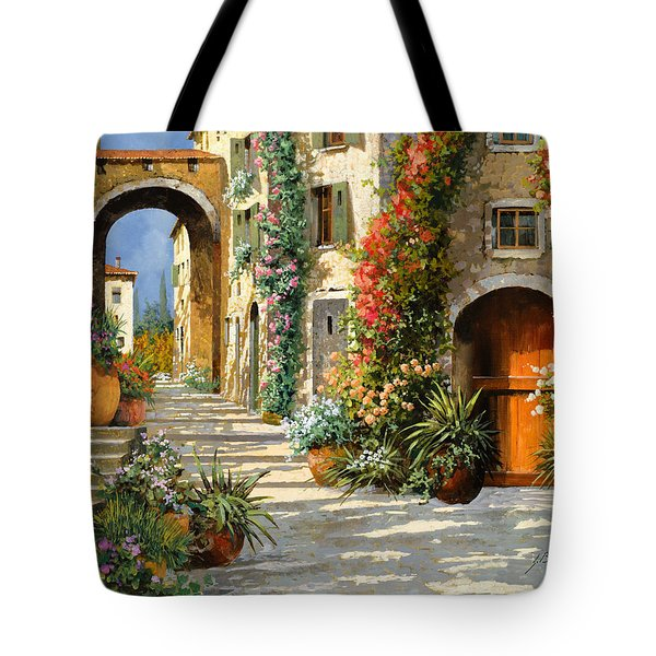 Tote Bag featuring the painting La Porta Rossa Sulla Salita by Guido Borelli