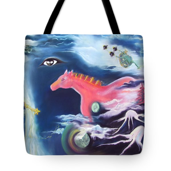La Reverie Du Cheval Rose Or Dream Quest Of The Pink Horse. Tote Bag by Marie-Claire Dole