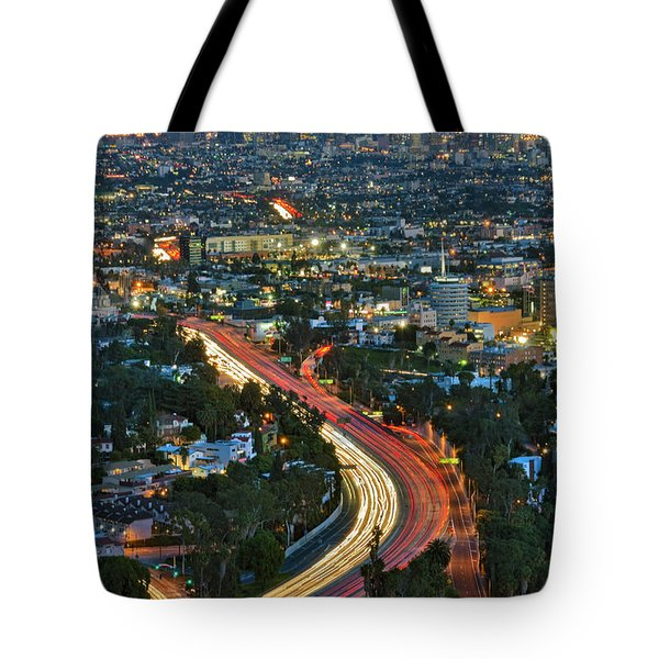La Skyline Night Magic Hour Dusk Streaking Tail Lights Freeway Tote Bag