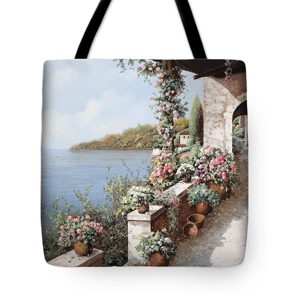 Tote Bag featuring the painting La Terrazza by Guido Borelli