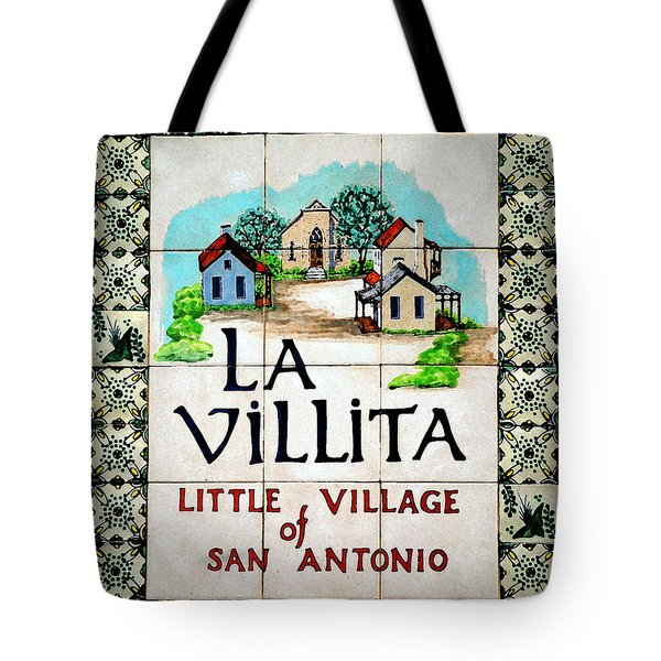 La Villita Tile Sign On The Riverwalk San Antonio Texas Watercolor Digital Art Tote Bag
