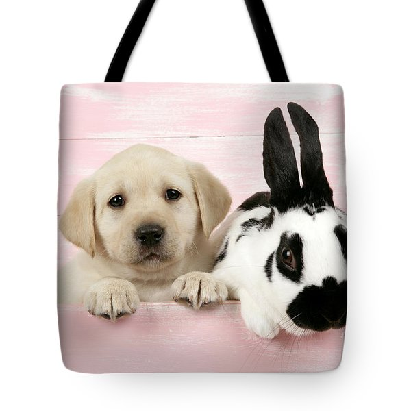 Lab Puppy And Bunny Tote Bag by John Daniels