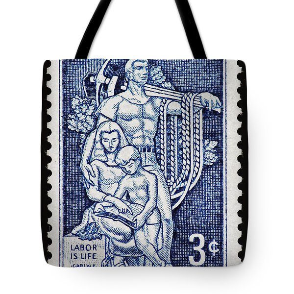 Labor Day Vintage Postage Stamp Print Tote Bag by Andy Prendy