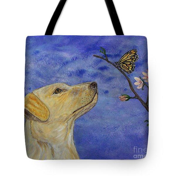 Tote Bag featuring the painting Labrador Enchanted by Ella Kaye Dickey