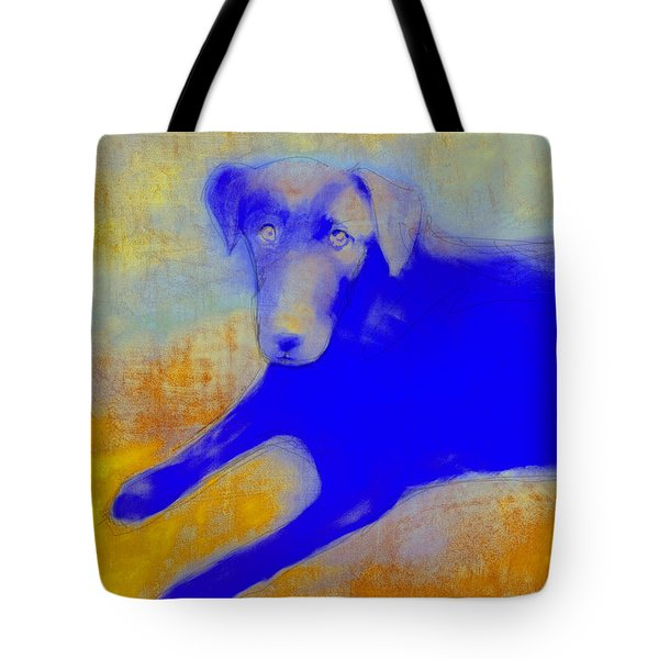 Labrador Retriever In Blue And Yellow Tote Bag by Ann Powell