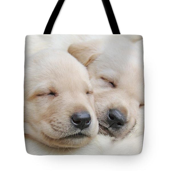 Labrador Retriever Puppies Sleeping  Tote Bag by Jennie Marie Schell
