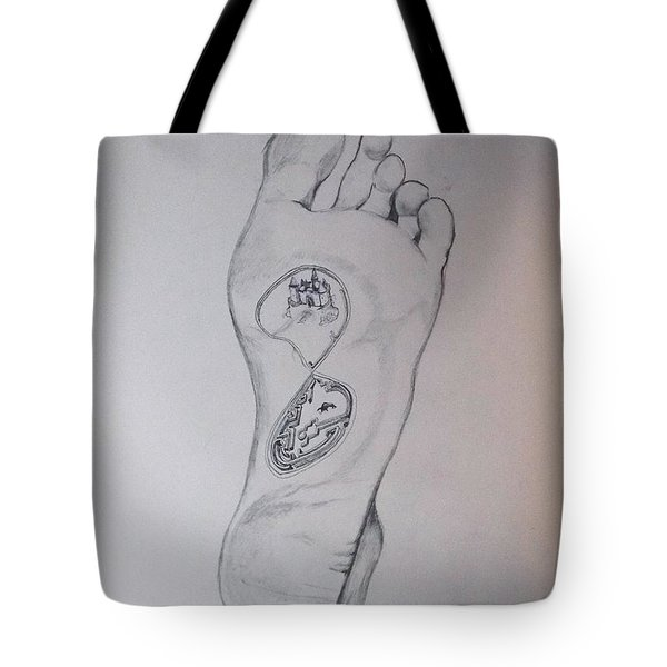 Tote Bag featuring the drawing Labyrinth Foot Pie Laberinto by Lazaro Hurtado