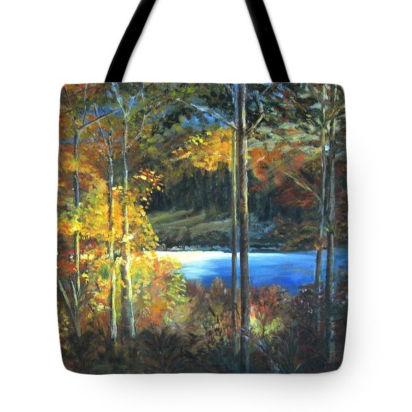 Tote Bag featuring the painting Lac Fortune Gatineau Park Quebec by LaVonne Hand