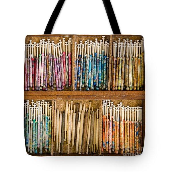 Lace Bobbins Tote Bag by Liz  Alderdice