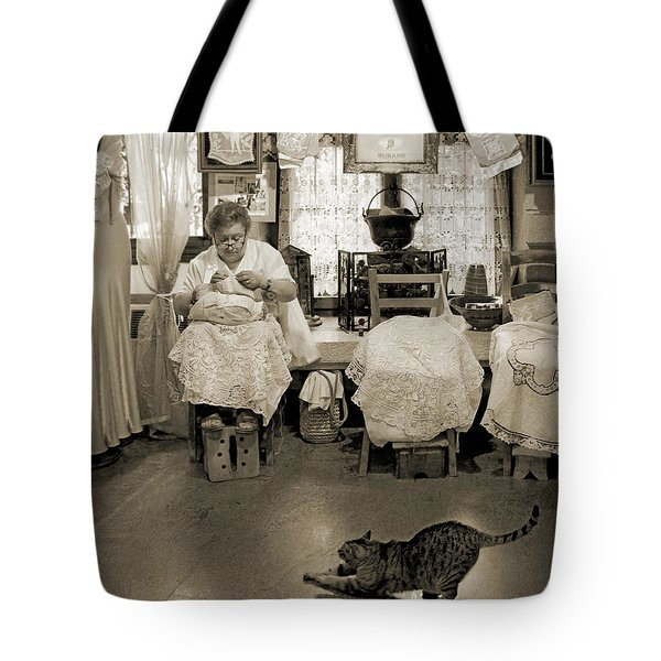 Tote Bag featuring the photograph Lace Lady Of Burano-bw by Jennie Breeze