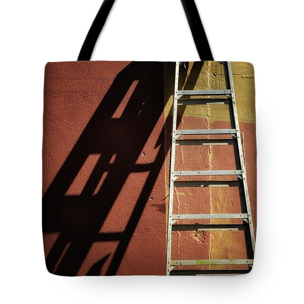 Ladder And Shadow On The Wall Tote Bag by Gary Slawsky