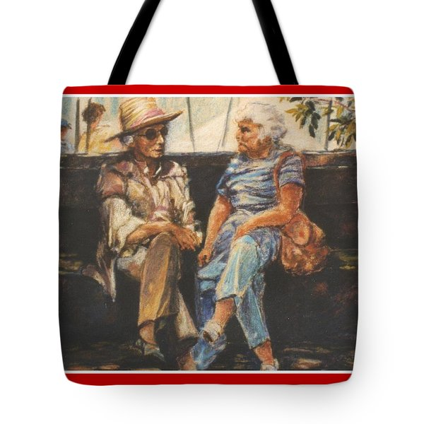 Tote Bag featuring the painting Ladies Of Washington Square by Walter Casaravilla