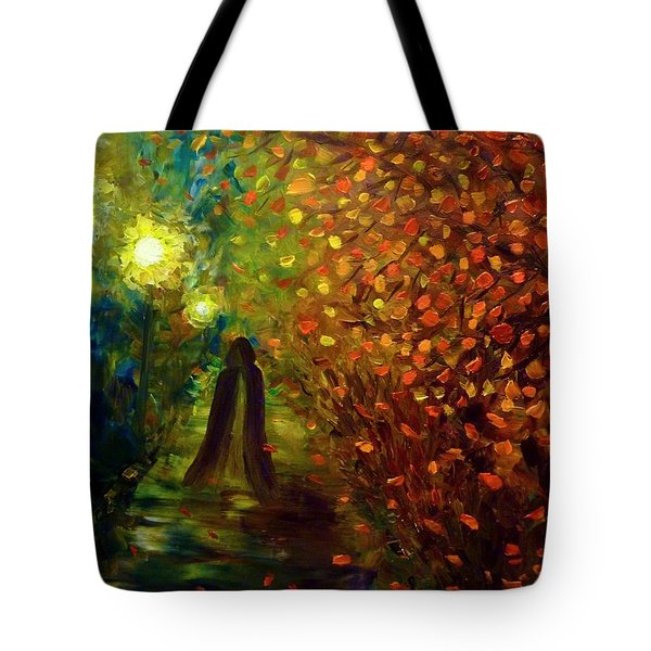Tote Bag featuring the painting Lady Autumn by Lilia D