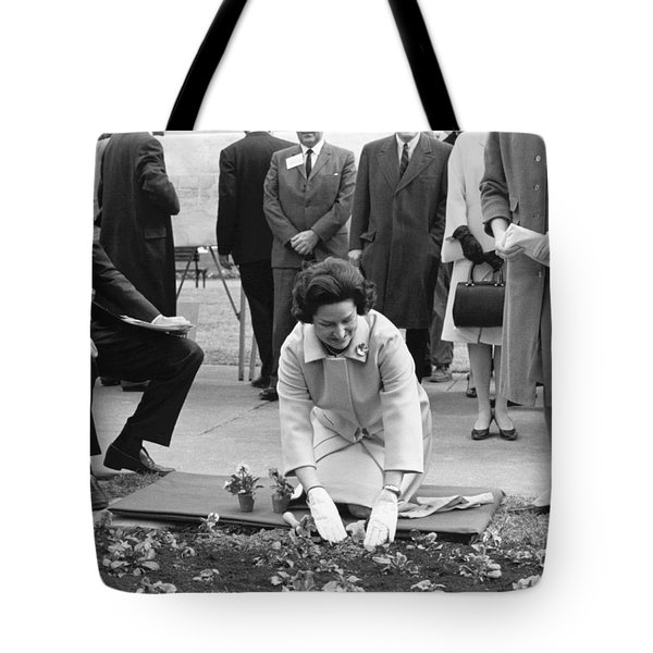 Lady Bird Johnson Planting Tote Bag by Underwood Archives