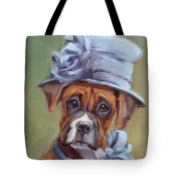 Lady Boxer With Blue Hat Tote Bag