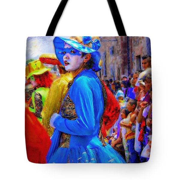 Lady In Blue Tote Bag