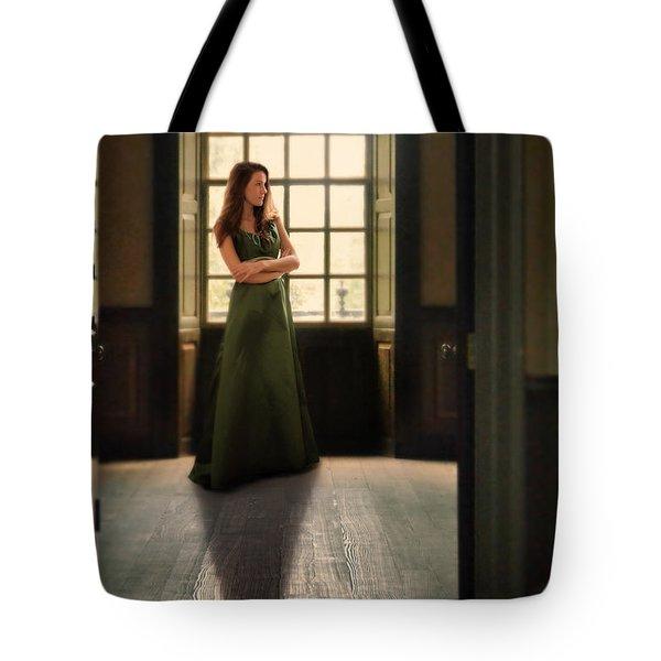 Lady In Green Gown By Window Tote Bag by Jill Battaglia