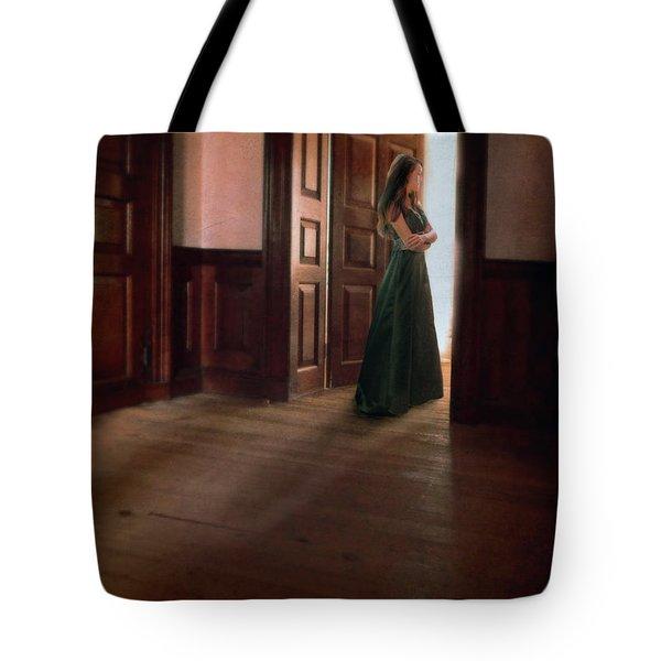 Lady In Green Gown In Doorway Tote Bag by Jill Battaglia