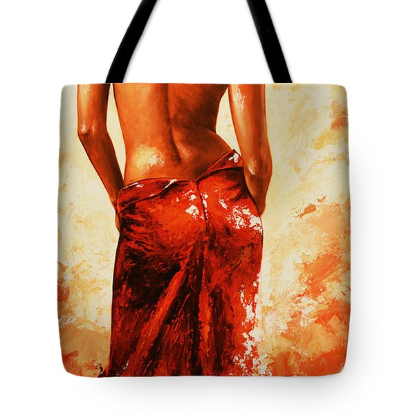 Lady In Red 27re Large  Tote Bag by Emerico Imre Toth