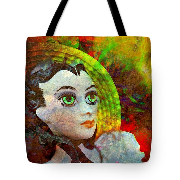 Tote Bag featuring the mixed media Lady In Red by Ally  White