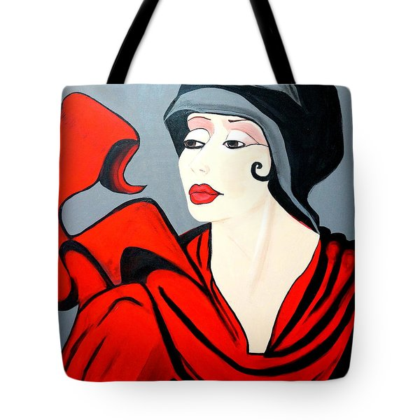 Lady In Red  Art Deco Tote Bag