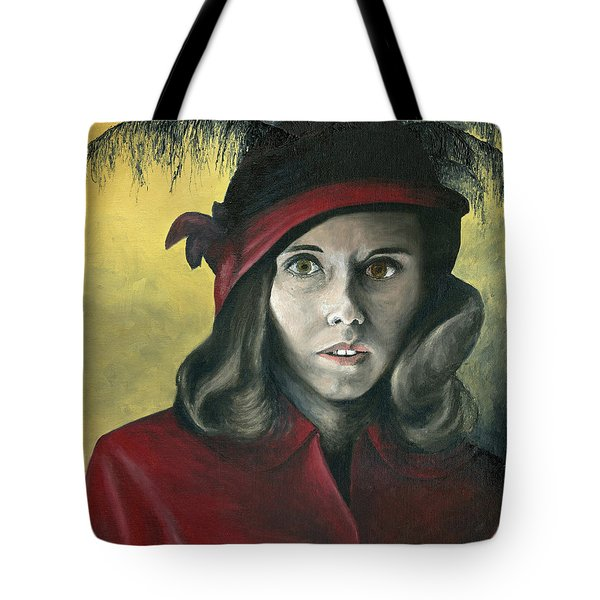 Lady In Red Tote Bag by Mary Ellen Anderson