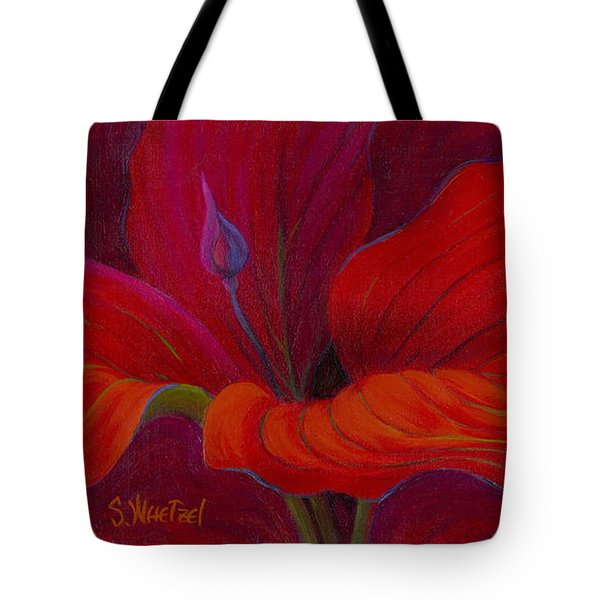 Tote Bag featuring the painting Lady In Red by Sandi Whetzel
