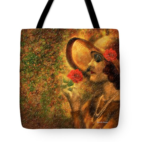 Lady In The Flower Garden Tote Bag by Angela A Stanton