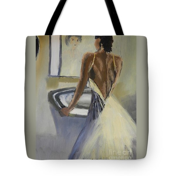 Tote Bag featuring the painting Lady In The Mirror by Pamela  Meredith