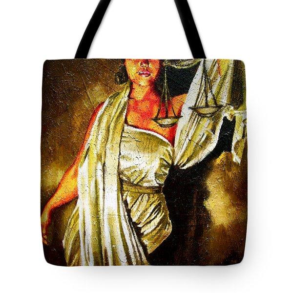 Lady Justice Sepia Tote Bag