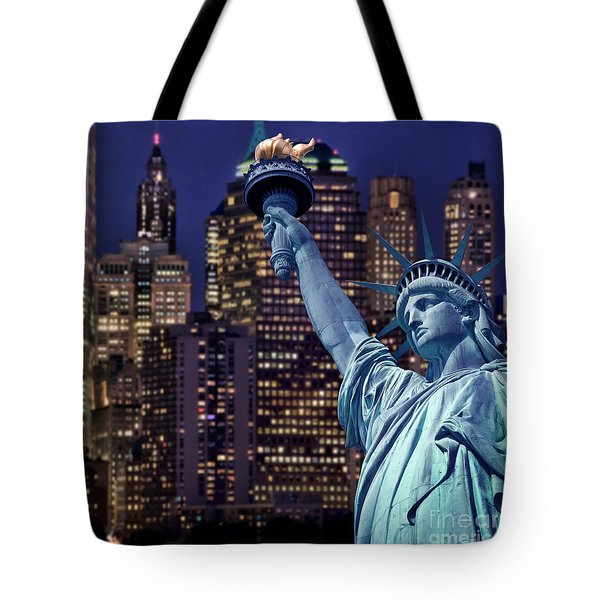 Lady Liberty By Night Tote Bag by Delphimages Photo Creations